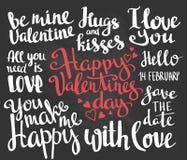 Valentine's Day. Set of Valentine's stylish trendy calligraphic headlines. Vector illustration on the chalkboard. Valentine's Day. Set of Valentine's stylish Stock Images