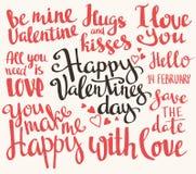 Valentine's Day. Set of Valentine's stylish trendy calligraphic headlines. Vector illustration. Valentine's Day. Set of Valentine's stylish trendy calligraphic Royalty Free Stock Photo