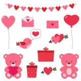 Valentine`s day set of vector elements. Bear, hearts, bird, balloons etc Royalty Free Stock Photos