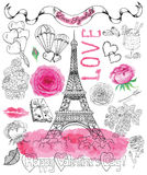 Valentine's Day set with watercolor roses and love graphic symbols Stock Photography