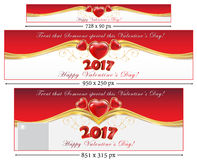 Valentine`s Day 2017 set web banners. Elegant Valentine`s Day 2017 set web banners with hearts. Sizes: leader board. Contains place for your own text. Easy to Stock Photos