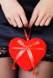 Valentine's Day - sexy woman with a heart Royalty Free Stock Images