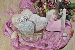 Valentine's Day in shades of pink - hearts in mesh bag Royalty Free Stock Photo
