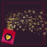 Valentine's day  shopping bag with beautiful golden hearts in frame. Vector background with golden dots on dark. Stock Images