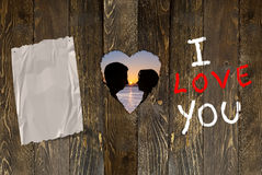 Valentine's day. Silouette for Valentine's day, wood background Royalty Free Stock Photography
