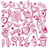 Valentine's day sketch set Stock Image