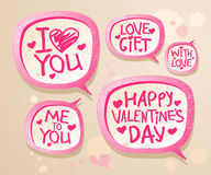 Valentine`s day speech bubbles. Stock Photography