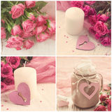 Valentine`s Day square collage in vintage style Royalty Free Stock Photos