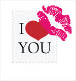 Valentine's Day. Stamp with the text I love you and lip marks Stock Photos