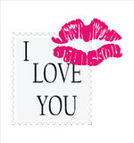 Valentine´s day. Stamp with the text I love you and lip marks Stock Photo