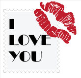 Valentine´s day. Stamp with the text I love you and lip marks Royalty Free Stock Photos