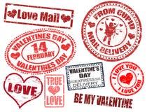 Valentine's Day stamps stock illustration
