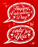 Valentine`s day stamps. Happy Valentine`s day rubber stamps in form of speech bubbles Stock Image