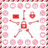 Valentine's Day stamps, icons and patterns Stock Image