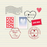 Valentine's Day stamps set Stock Image