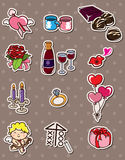 Valentine's Day stickers. Cartoon vector illustration Royalty Free Stock Photography