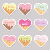 Valentine s day stickers. Cartoon hearts with sample text. Royalty Free Stock Photography