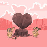 Valentine's Day in Stone Age Royalty Free Stock Image