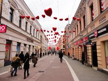 Valentine`s day street in town royalty free stock images