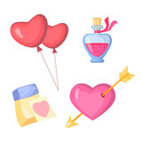 Valentine s day stylish icons set. Cartoon style. Heart, calendar, balloons and glass jar. Stock Photo