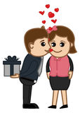 Valentine's Day Surprise Gift - Cartoon Characters Stock Photography