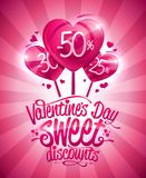 Valentine`s day sweet discounts sale poster design. Heart shaped candies Royalty Free Stock Photo