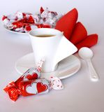 Valentine's Day sweets. Candies and tea Royalty Free Stock Photo