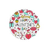 Valentine`s Day symbols in a circle for a postcard. stock illustration