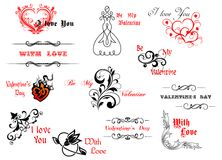 Valentine's day symbols and headers Royalty Free Stock Photos