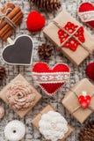 Valentine's Day symbols - hearts, presents, decorations. Stock Photo