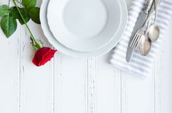 Valentine`s Day tabble setting with cutlery royalty free stock photography