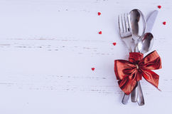 Valentine`s Day tabble setting with cutlery Stock Photography