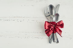 Valentine`s Day tabble setting with cutlery Royalty Free Stock Images