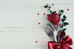 Valentine`s Day tabble setting with cutlery Stock Photo