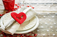 Valentine's day table setting Stock Photos