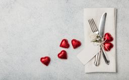 Valentine`s Day table setting royalty free stock photography
