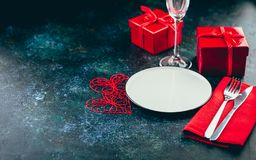 Valentine`s day table setting stock photo