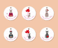 Valentine's day tags mice Royalty Free Stock Image