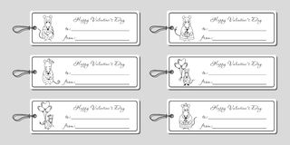 Valentine's day tags mice Stock Photo
