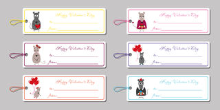 Valentine's day tags mice Stock Image