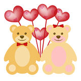 Valentine's Day Teddy Bear Couple with Balloons Stock Photography