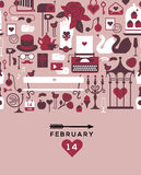 Valentine's day template. Romantic postcard with valentine's day symbols and silhouettes, horisontal seamless composition. Text with illustration in retro style royalty free illustration