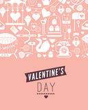 Valentine's day template. Romantic postcard with valentine's day symbols and silhouettes, seamless composition. Text with illustration in retro style vector illustration
