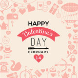 Valentine's day template. Romantic postcard with valentine's day symbols and silhouettes. Text composition with illustration in retro style vector illustration