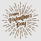 Valentine`s day text typography brown hipster sun starburst circle retro vintage design. Illustration Royalty Free Stock Image