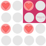 Valentine's day texture. Simple seamless texture with gray circles, pink and white background, congratulating text and cute hearts Royalty Free Illustration