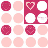 Valentine's day texture. Simple seamless texture with gray circles, pink and white background, congratulating text and cute hearts Vector Illustration