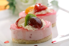 Valentine's day theme - Cake with fresh fruits Stock Photos