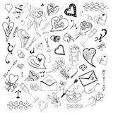 Valentine`s Day theme doodle set. Monochrom love symbols and hearts isolated on white background. vector illustration