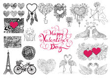 Valentine's Day theme doodle zentangle design elements set. Happy valentine's day lettering Royalty Free Stock Image